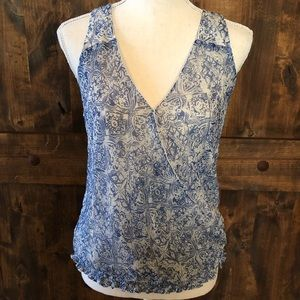Lucky Brand Cute&Sassy Blue Hues Smocked Crop Top